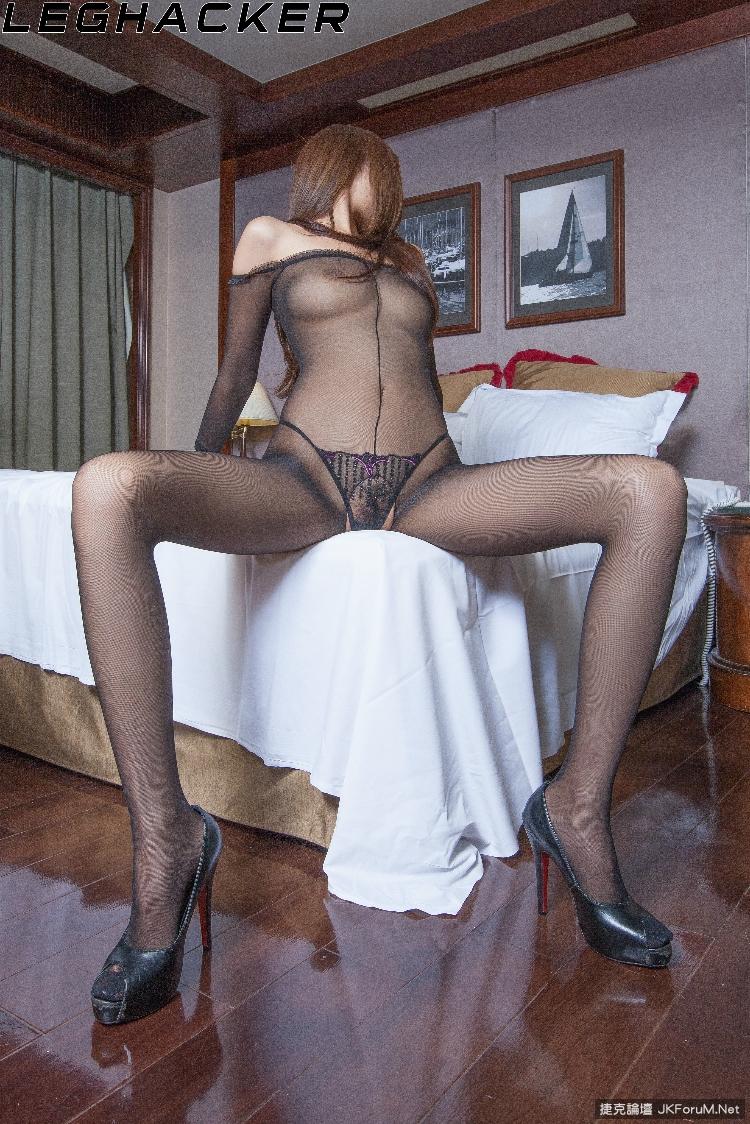 【Leghacker系列】NO.197長腿妹winnie連身開檔透明黑絲+丁字褲【96P】 - 貼圖 - 絲襪美腿 -