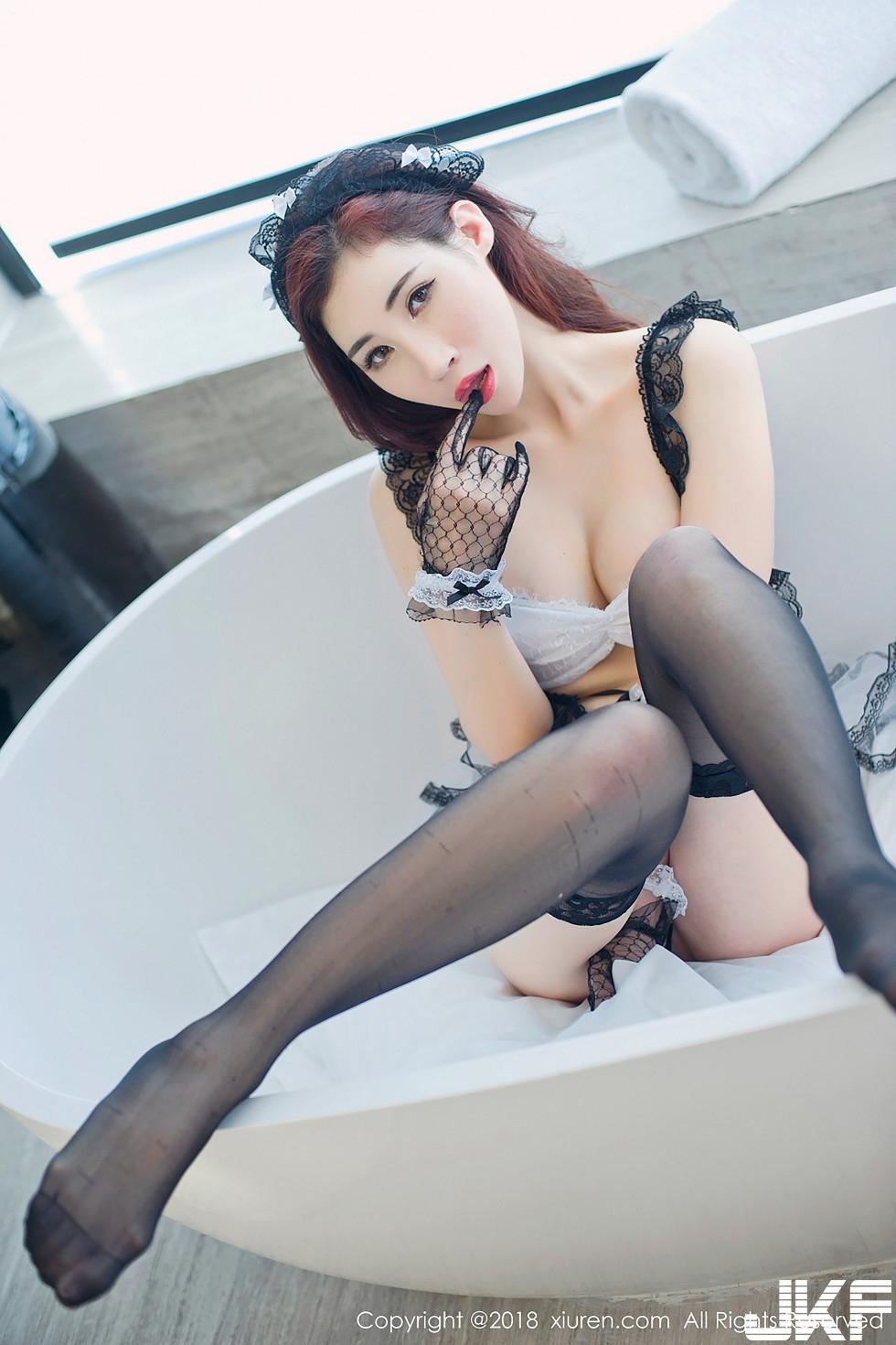 完美大蜜孫夢瑤V私房黑白蕾絲女仆裝配黑絲襪完美誘惑寫真 - 貼圖 - 清涼寫真 -