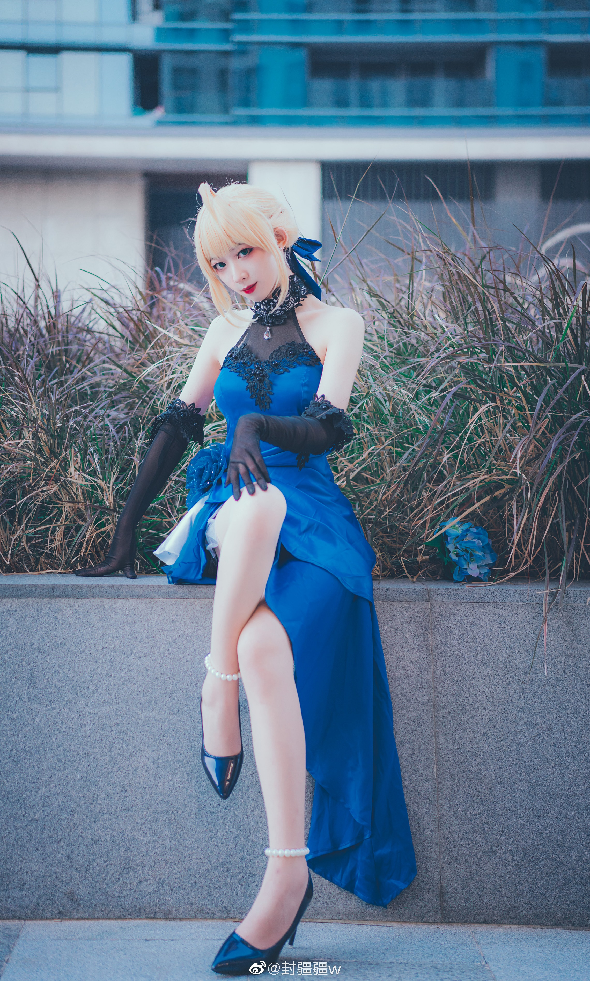 Fate/Grand Order saber 藍禮服 Cosplay - COSPLAY -