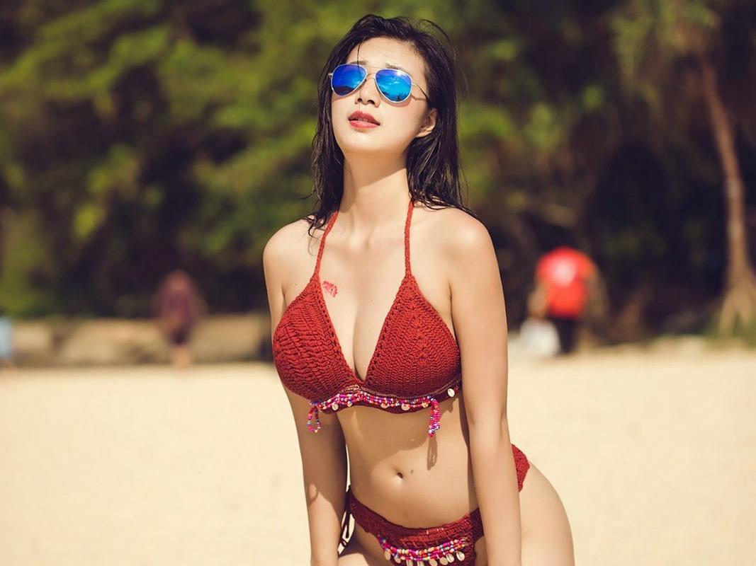 艷紅比基尼墨鏡女優比基尼海灘私拍 宋KiKi - 貼圖 - 清涼寫真 -